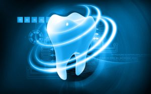 A tooth on a blue background and white rings around it to symbolize technology